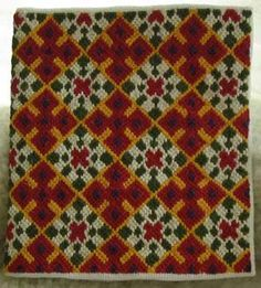 """March/April 2006 - German Brick Stitch Project - needlecase with 2 historic patterns joined to make """"bands"""""""