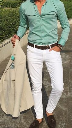 mens_fashion - Men's summer fashion White pants with button down shirt mensfashion summer summervibes menstyle menswear bespoke Mens Fashion Suits, Mens Suits, Blazer Outfits Men, Formal Men Outfit, Designer Suits For Men, Herren Outfit, Moda Casual, Sport Chic, White Pants