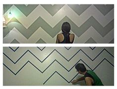 Chevron Wall DIY (I used sage green and white) Note: Preparing the zig zags will take you about 1.5-2+ hours, depending on if you know what you are doing and how big the wall is. Painting is the easiest part. Make sure the starting color of the wall is the lightest of the colors you choose to use before starting to tape down the design!