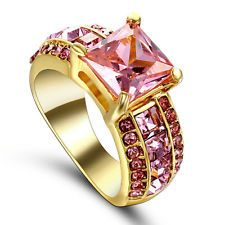 Unique Jewelry - Pink Topaz Gemstone Fashion Jewelry Women 10kt yellow Gold filled Ring Size 6