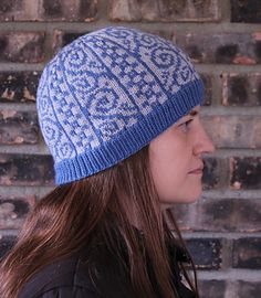 Two distinct colorwork patterns make up this eye-catching hat. Just two colors are used for an easy and fun to work knit, and the finished hat will keep your head nice and warm.