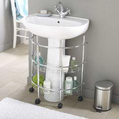 etagere meuble de rangement sous evier ou lavabo à roulettes
