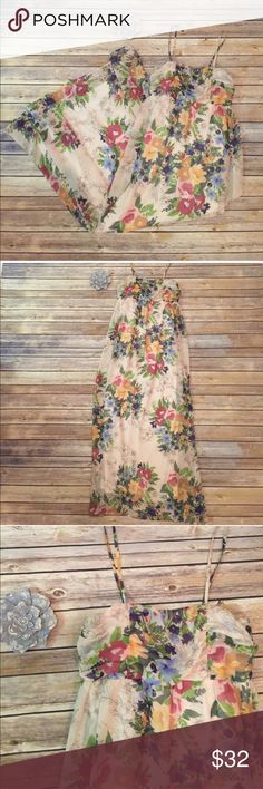 """Urban Outfitters Pins and Needles Maxi Dress Urban Outfitters Pins and Needles Floral Maxi Dress.  So beautiful!  Feminine and flowy.  In excellent condition!  Bust 32"""" (bust area has Elastic in the back so plenty of room for stretch) Length 55"""" Urban Outfitters Dresses Maxi"""
