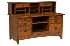 Amish Signature Mission Credenza Solid wood desk full of unique storage spaces. Amish made in America. #DutchCrafters
