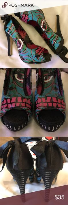 💀 Iron Fist Frankenstein Peep Toe Pumps 💀 This is a pair of Peep toe platform pumps by Iron Fist. They have only been worn twice. There is a little wear to the sole, but other than that these are in excellent condition. Iron Fist Shoes Heels