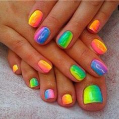 Rainbow nails and toenails nails nail pretty nails nail art nail ideas nail designs toenails