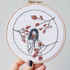 Original One with nature no.2 hoop art fiber art wall