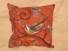 Shabby Chic Fun Throw Pillow with Bird Motif French Market Design Floral Handmade Pillow Vintage Orange