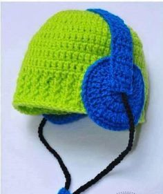 Crochet baby boy hat with headphones Made to order any by IvonKaa