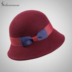 Female Cloche Hat Wide Brim 100% Australian Wool Bucket Hat Keep Warm Wool Felt Hat for Autumn Winter Who like it ? #shop #beauty #Woman's fashion #Products #Hat