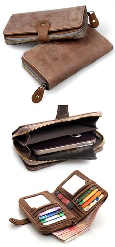 Vintage Crazy Horse Leather Wallet / iPhone 4 4s iPhone 5 Wallet