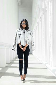 monochromatic chic outfit marbled jacket