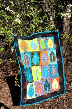 Leaf and peacock quilt - I've done this quilt in lime and peacock blue but like this color scheme too