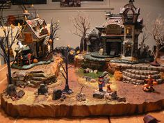 Cemetery in the Slime X Halloween Village Display / Dept. 56 Halloween Village / - Cemetery in the Slime… Halloween Town, Halloween Village Display, Outdoor Halloween, Halloween Stuff, Halloween Ideas, Halloween Decorations, Cemetery, Slime, Inspiration