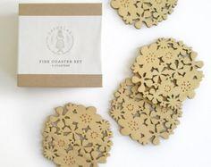 Flower Coasters Set of 4 - Bamboo