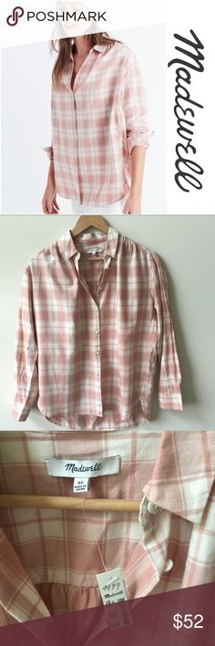 Madewell central long-sleeve shirt | xs Brand new with tags!!! Adorable Madewell top in Danville plaid. Slightly oversized Size xs Madewell Tops Button Down Shirts