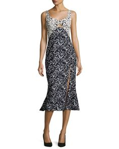 Bamboo-Print Flounce-Hem Midi Dress, Navy/White