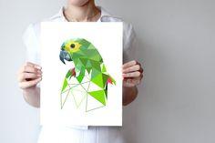 """Parrot art print  8""""x10"""" or 11""""x14"""" - Geometric - Bird art - green, blue - ohtteam"""