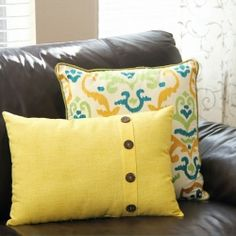 Change up your home decor with an easy fold-over button pillow cover.