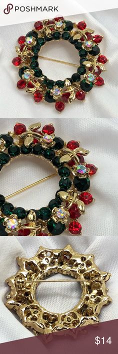 """🆕Gold and Rhinestone Wreath Pin A gold wreath, with lots of red and green rhinestones, accented with gold and Aurora rhinestone flowers! 1 1/2"""" in diameter. Very well-made, with some weight to it! New, never worn! Jewelry Brooches"""