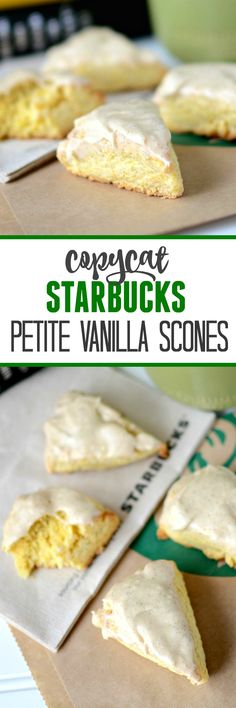 Copycat Starbucks Petite Vanilla Scones - this easy recipe has a secret ingredient that keeps the scones perfectly soft and moist. We love these for breakfast!!