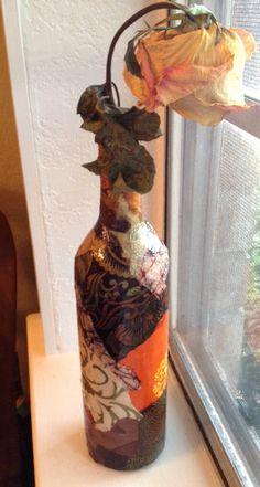Lokta Paper Decoupage on Wine Bottle in by cutelittlecanvases, $18.00