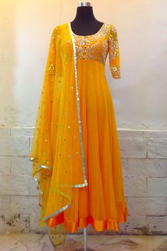 The Stylish And Elegant Anarkali Suit In Yellow Colour Looks Stunning And Gorgeous With Trendy And Fashionable Fabric Looks Extremely Attractive And Can Add Charm To Any Occasion.This is a completley. India Fashion, Ethnic Fashion, Asian Fashion, Emo Fashion, Anarkali Dress, Red Lehenga, Lehenga Choli, Bridal Lehenga, Mode Bollywood