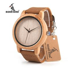 Bamboo Wristwatch With Genuine Cowhide Leather Band