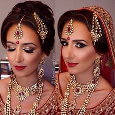 A Traditional Bridal Makeup Look for the Indian Bride. This look is from Dress Your Face. Lover her work!
