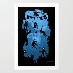 Ninja Kick Ass Clash Art Print by Anna-Maria Jung - $17.68