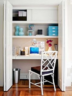 Closet office idea. If you could get the chair to tuck in to the closet, and then the close able to close at the end of the day, this would be very cool. What a great way to mentally break from work at the end of the day.