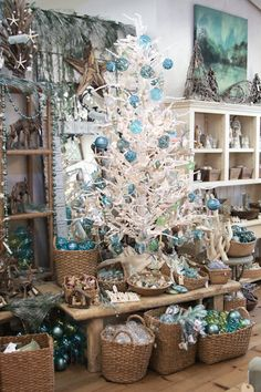 ocean themed christmas tree beach christmas trees coastal christmas decor blue christmas themed - Beach Themed Christmas Decorations