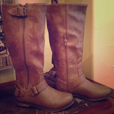 "⭐️Host Pic Everyday Essentials 11/2⭐️ Faded Taupe Riding Boots. Low heel with outside side zip & buckle snap closure. 16"" from heel to top of boot.  trades ❤️ bundle & SAVE! Price is firm unless bundling discount. Several size 6  available. Do not purchase this one. Let me know &  I will make you a new listing. Shoes Winter & Rain Boots"