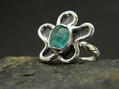 Apatite flower ring sterling silver oxidized rough stone jewelry, raw ocean blue apatite ring size  7.5 by nikiforosnelly on Etsy