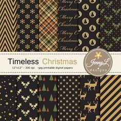 Navidad Digital papeles negro y dorado brillo nieve