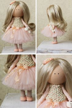 Tilda doll Handmade blonde peach color Collectable doll Baby doll Decor doll…