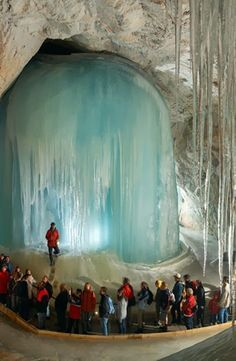 "The Eisriesenwelt (German for ""World of the Ice Giants"") is a natural limestone ice cave located in Werfen, Austria, about 40 km south of Salzburg."