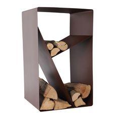 Porte buches en acier époxy forme casier chocolat 50x56x95cm Design