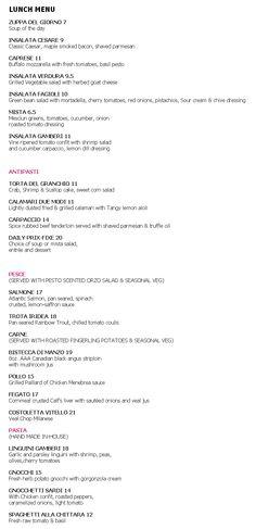 Luci Restaurant Menu - Lunch