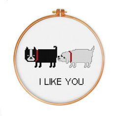 Funny Dog Love cross stitch pattern modern cross by ThuHaDesign
