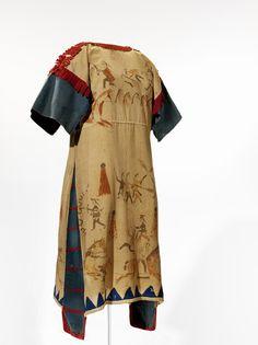 Sioux painted cloth dress, ca. 1890, South Dakota. ; Muslin, blue denim, red wool, paint, thread.
