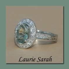 Oval Green Sapphire Diamond Halo Engagement by LaurieSarahDesigns, $3794.85