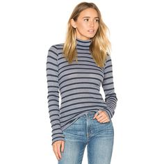 Stateside Stripe Thermal Turtleneck Sweater ($79) ❤ liked on Polyvore featuring tops, sweaters, basic tops, striped sweater, turtle neck top, striped top, turtleneck top and ribbed sweater