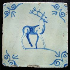 Delft tile with cobalt decoration of a stag-Dutch, mid-17th century