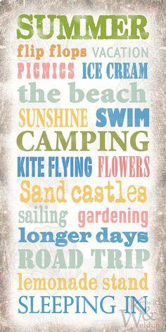 My favorite season!!!! Summer Sayings Typography Print  10x20 by KeswickandWeldon on Etsy, $22.00