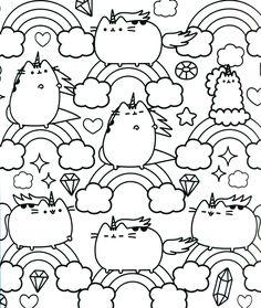 Kawaii CatUnicorn coloring page