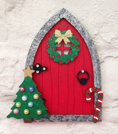 Beautiful Hand Painted Christmas Fairy Santa Elf Door Elf