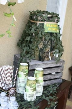 Camo Birthday Party Ideas - Camouflage party theme for the hunter, outdoor enthusiast, army soldier, call of duty or survivor Army Birthday Parties, Army's Birthday, Hunting Birthday, Birthday Party Decorations, Hunting Party Decorations, Birthday Ideas, Army Themed Birthday, 30th Party, Birthday Crafts