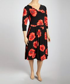 Take a look at this Black & Red Floral Cowl Neck Dress - Plus by Ice Silk on #zulily today!