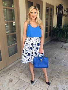 Midi Skirt, YSL bag via texasfashionspot.com #cobalt #floral #goodnightmacaroon